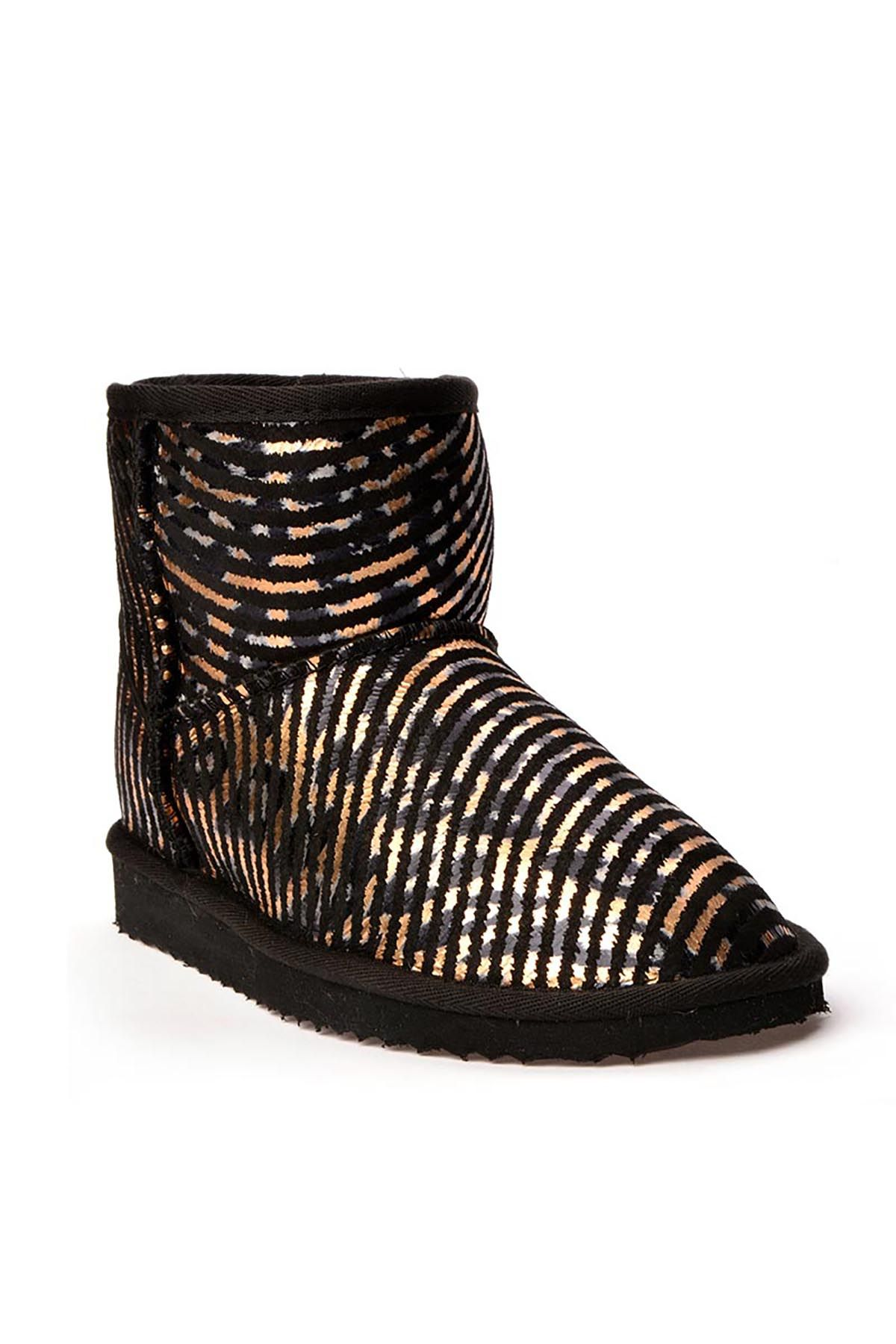 Cool Moon Women Uggs From Genuine Fur With Stripes Pattern Golden