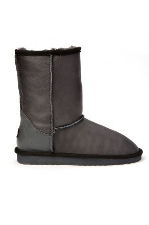 Cool Moon Classic Women Ugg Style Boots From Genuine Leather Gray