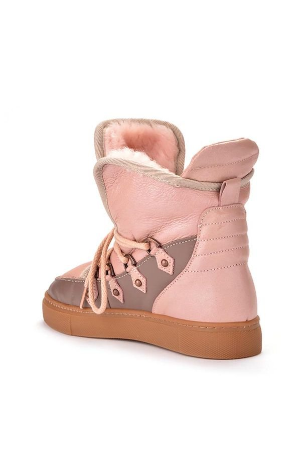 Pegia Laced Women Sneakers From Genuine Leather & Fur Powdery