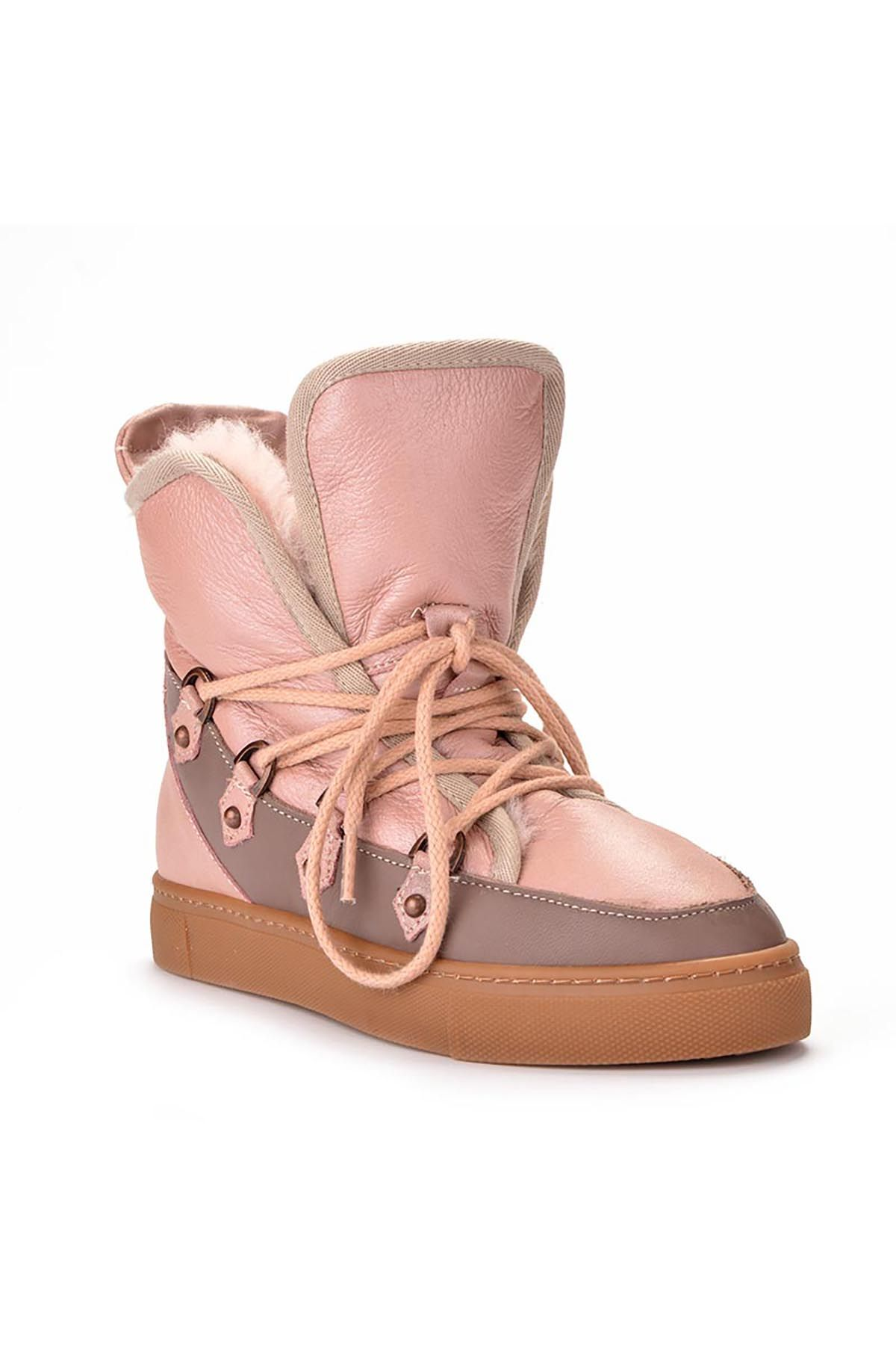 Pegia Hakiki Deri İçi Kürklü Bayan Sneaker Bot 157612 Pudra
