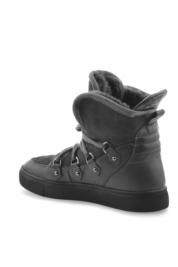 Pegia Laced Women Sneakers From Genuine Leather & Fur Gray