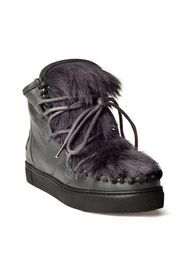 Pegia Women Boots From Natural Leather And Toscana Fur Gray