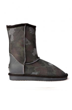 Cool Moon Classic Women Uggs From Genuine Leather With Camouflage Pattern Gray