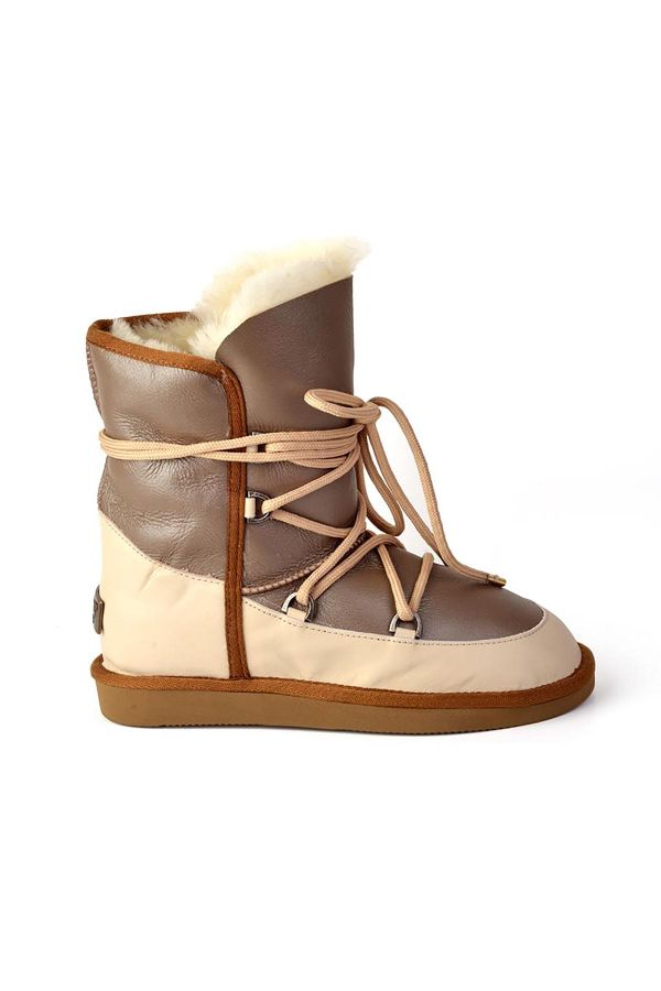 Pegia Laced Women Boots From Genuine Leather & Fur Beige