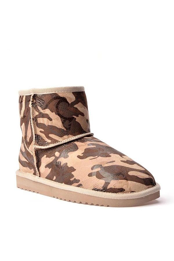 Cool Moon Women Uggs From Genuine Fur With Camouflage Pattern Beige