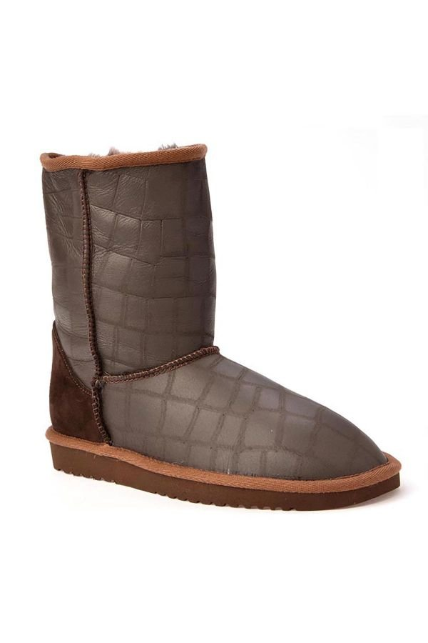 Cool Moon Classic Women Uggs From Genuine Leather With Square Pattern Brown