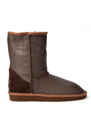 Cool Moon Classic Women Ugg Style Boots From Genuine Leather With Square Pattern Brown