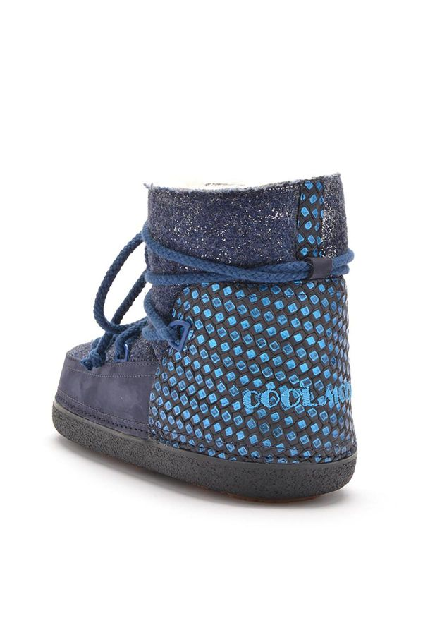 Cool Moon Women Snowboots From Genuine Fur And Nubuck Navy blue