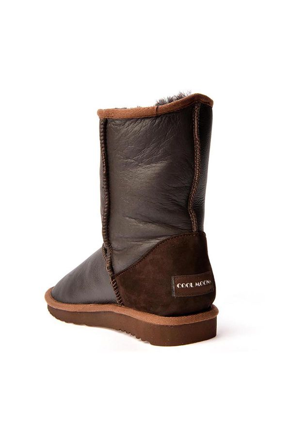 Cool Moon Classic Women Uggs From Genuine Leather Brown
