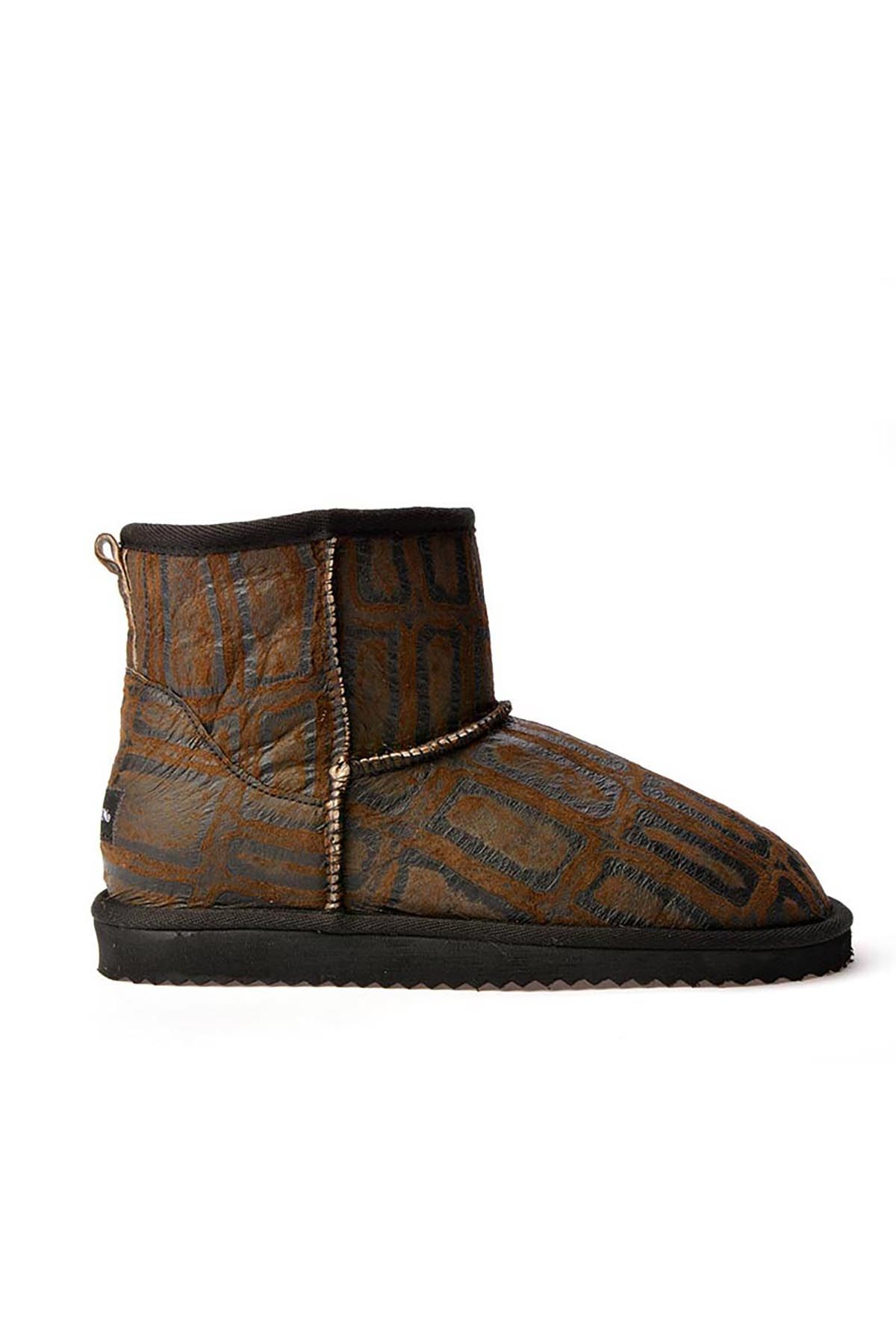 Cool Moon Women Uggs From Genuine Fur With Geometric Pattern Brown