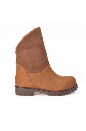 Pegia Женские Ботинки Из Натурального Меха И Нубука Песочный