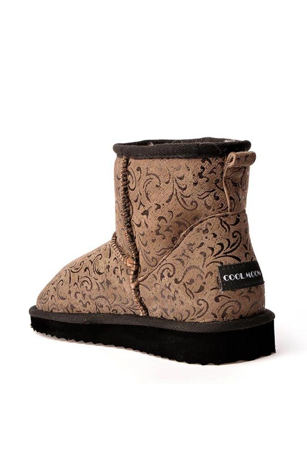 Cool Moon Women Uggs From Genuine Fur With Flower Pattern Brown