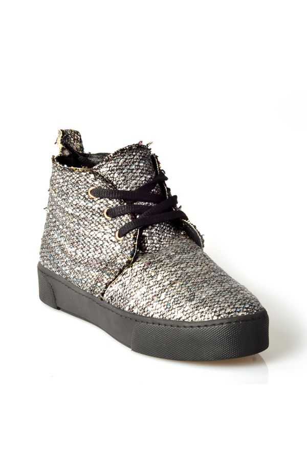 Art Goya Women Sneakers From Genuine Fur And Cashmere Silver