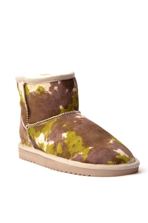 Cool Moon Women Uggs From Genuine Fur With Camouflage Pattern Green