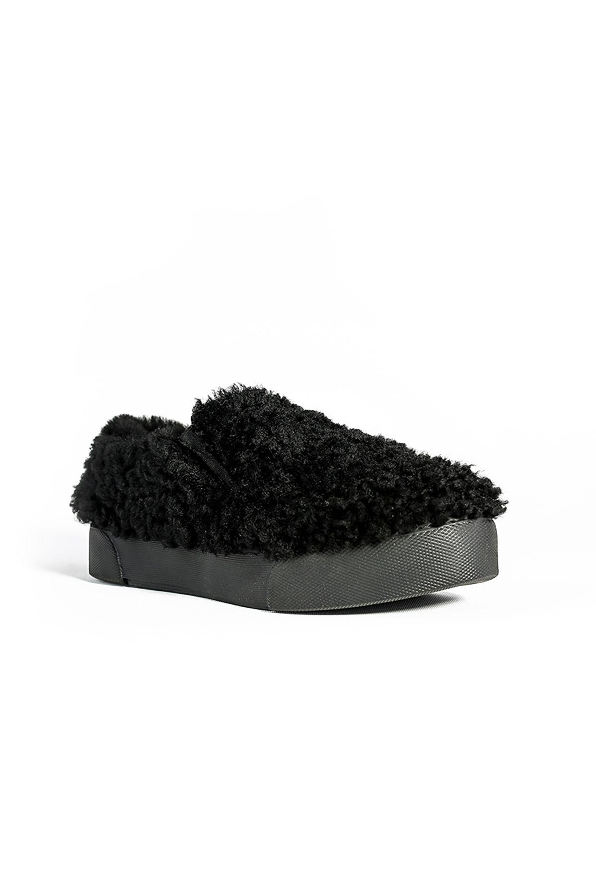 Pegia Hakiki Kürklü Kadın Sneaker Siyah