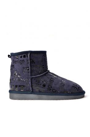 Cool Moon Women Uggs From Genuine Fur With Font Pattern Navy blue