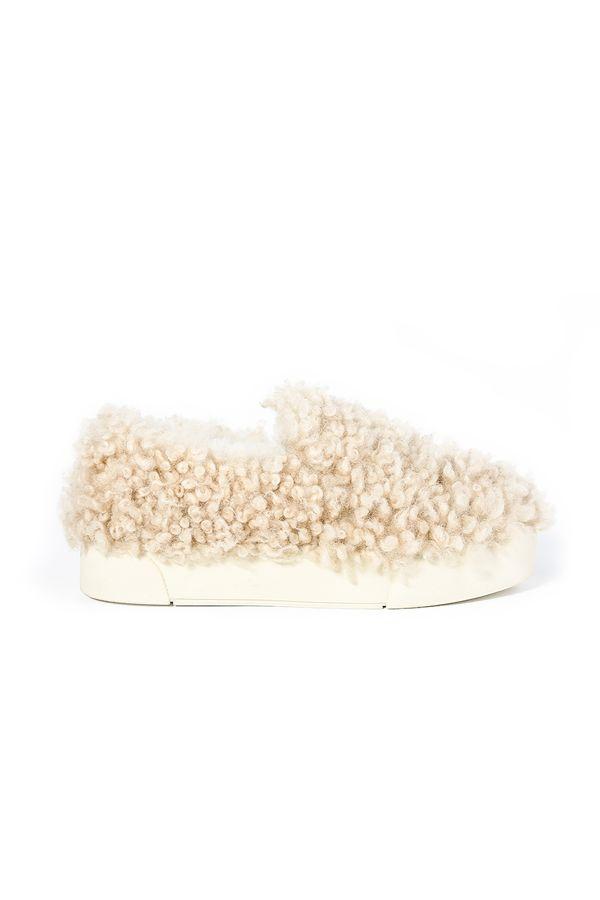 Pegia Hakiki Kürklü Kadın Sneaker Bej
