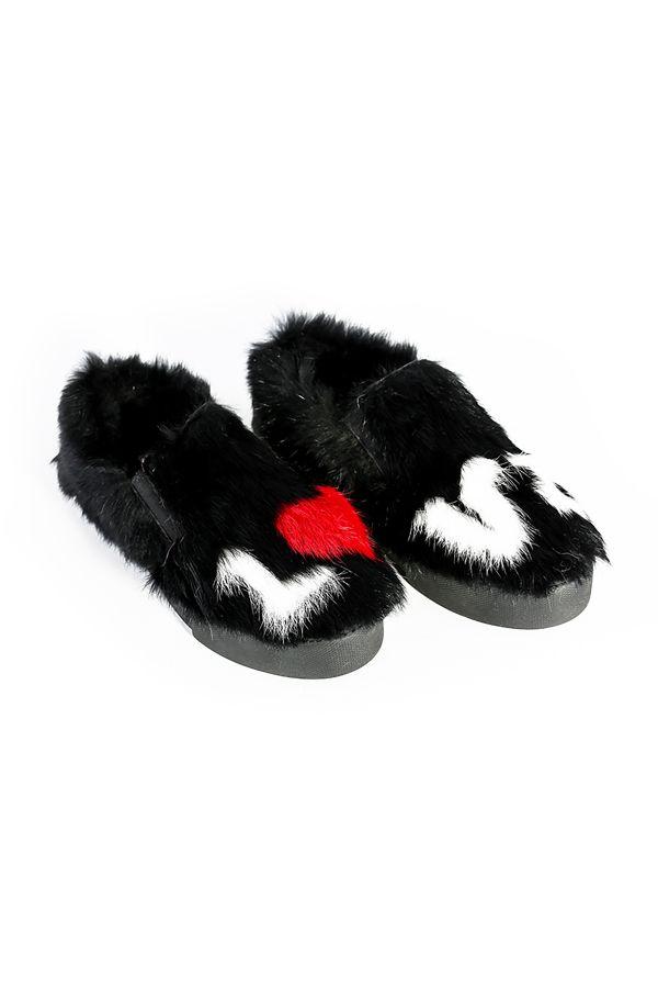 Pegia Hakiki Kürklü LOVE Yazılı Kadın Sneaker Siyah