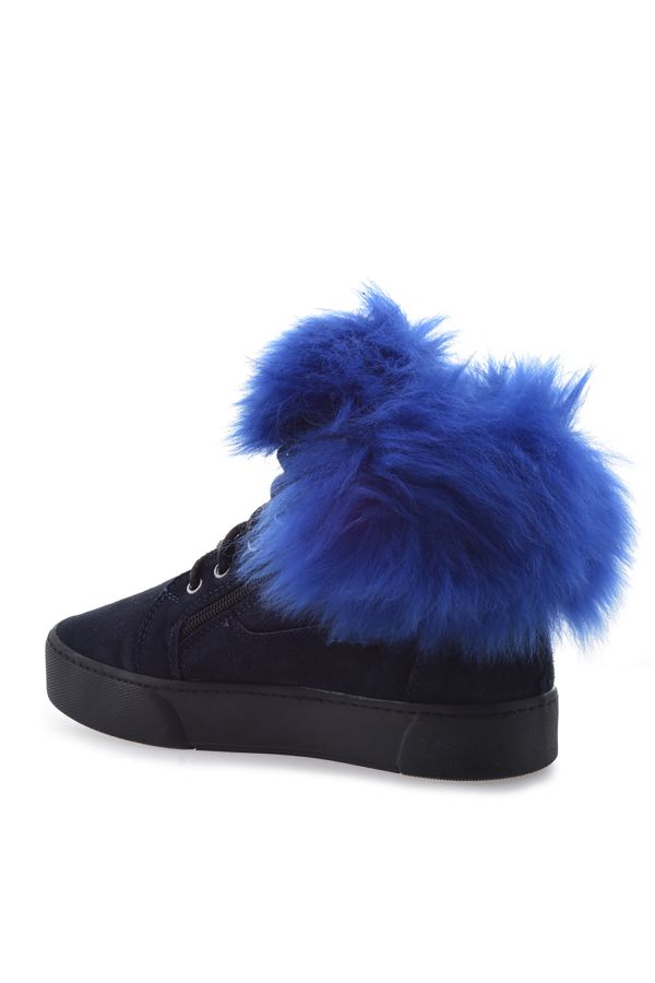 Pegia Women Boots With Zip Decorated With Genuine Toscana Fur Navy blue