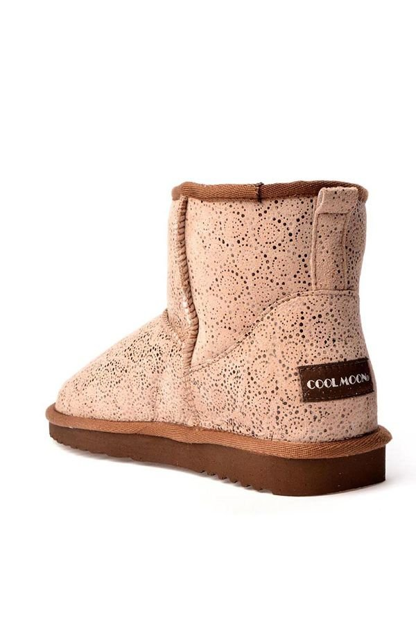 Cool Moon Women Uggs From Genuine Fur With Circular Pattern Beige