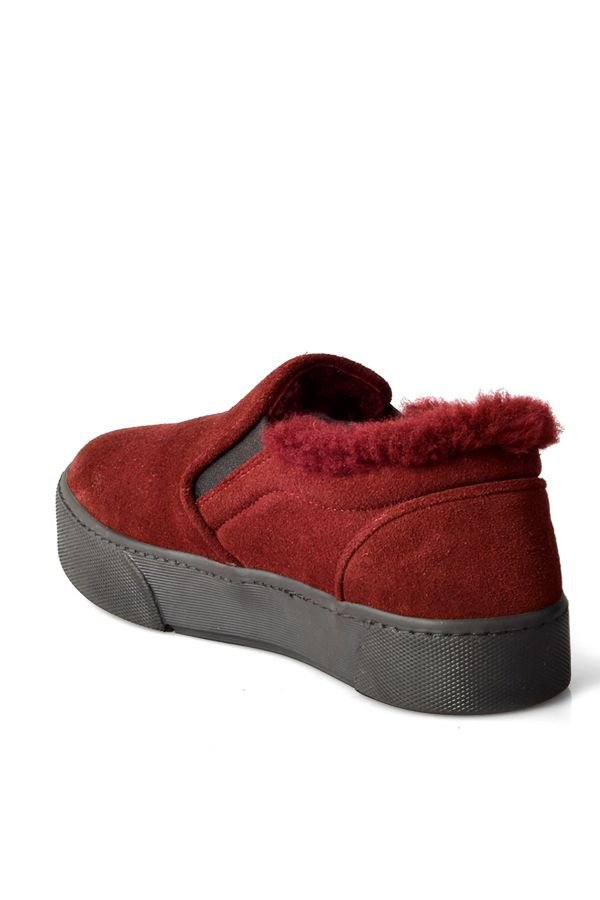Pegia Women Sneakers From Genuine Suede And Fur Claret red