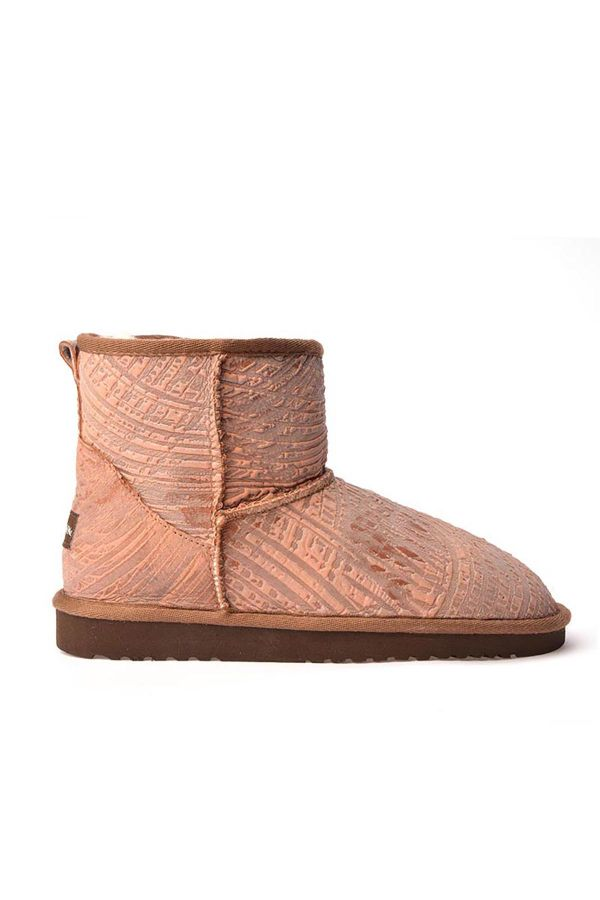 Cool Moon Patterned Women Uggs From Genuine Fur Pink