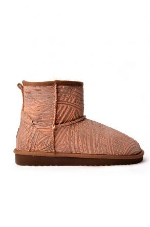 Cool Moon Patterned Women Uggs From Genuine Fur Orange