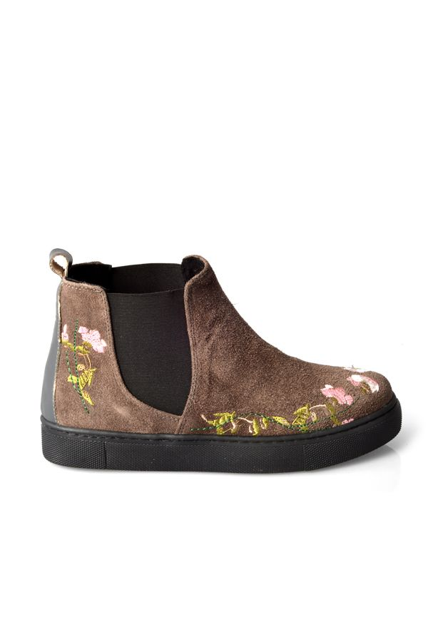 Pegia Women Boots From Genuine Suede And Fur With Embroidering Gray