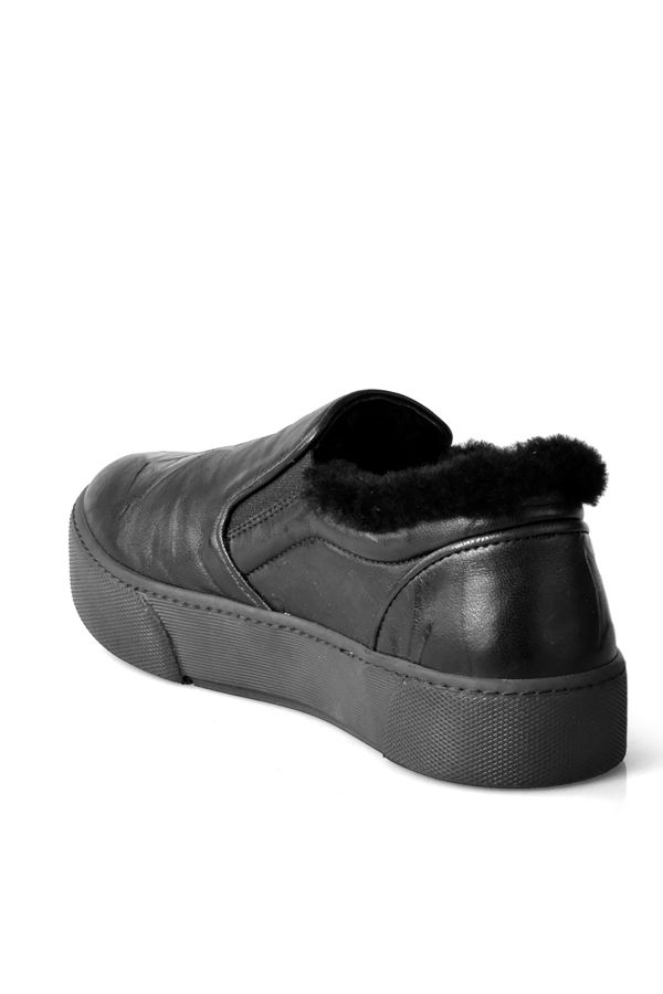 Pegia Women Sneakers From Genuine Leather And Fur Black
