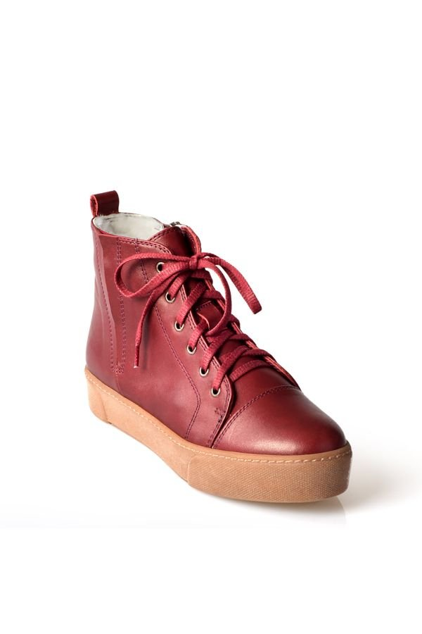 Pegia Women Sneakers From Genuine Leather And Fur Claret red