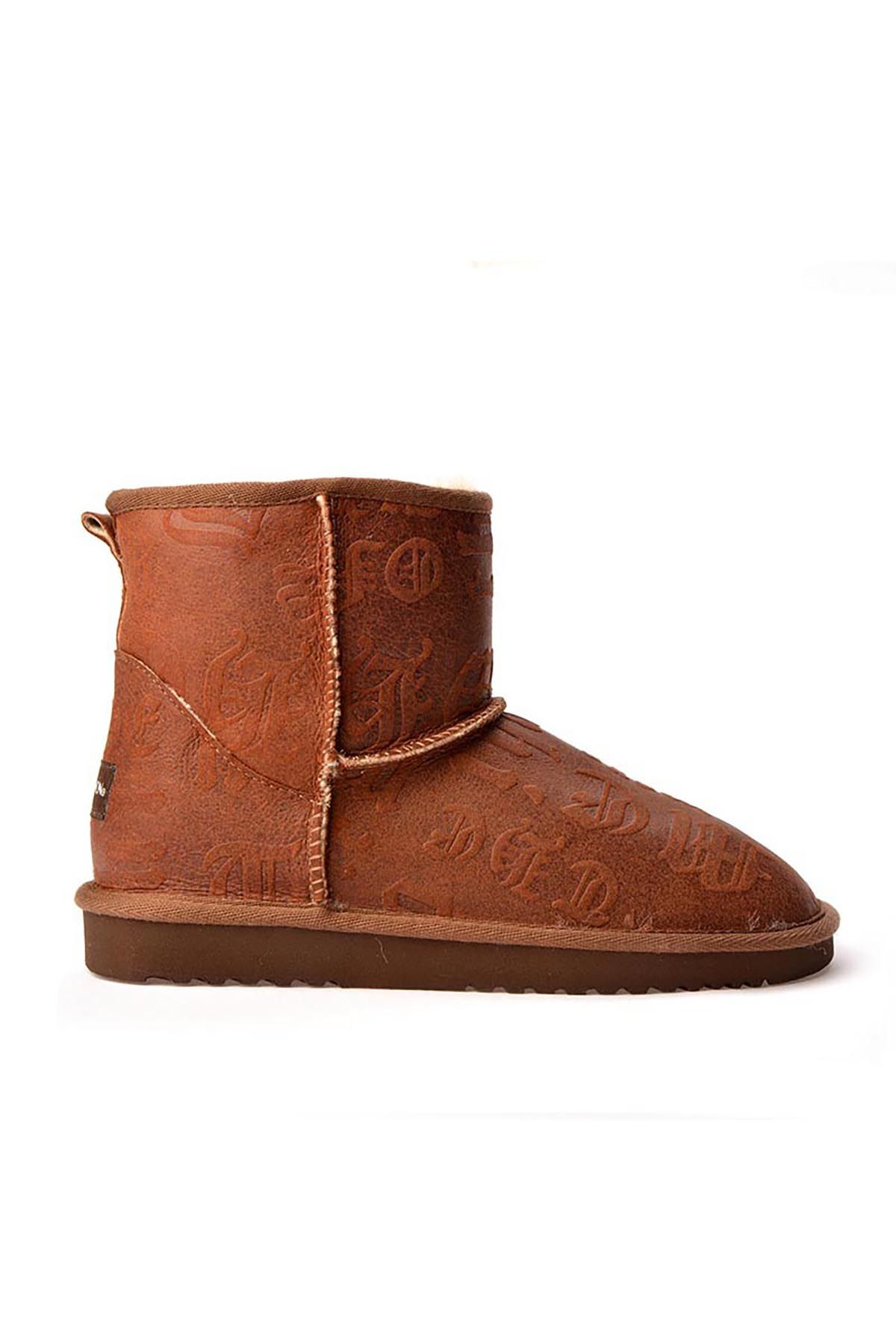 Cool Moon Women Uggs From Genuine Fur With Font Pattern Brown