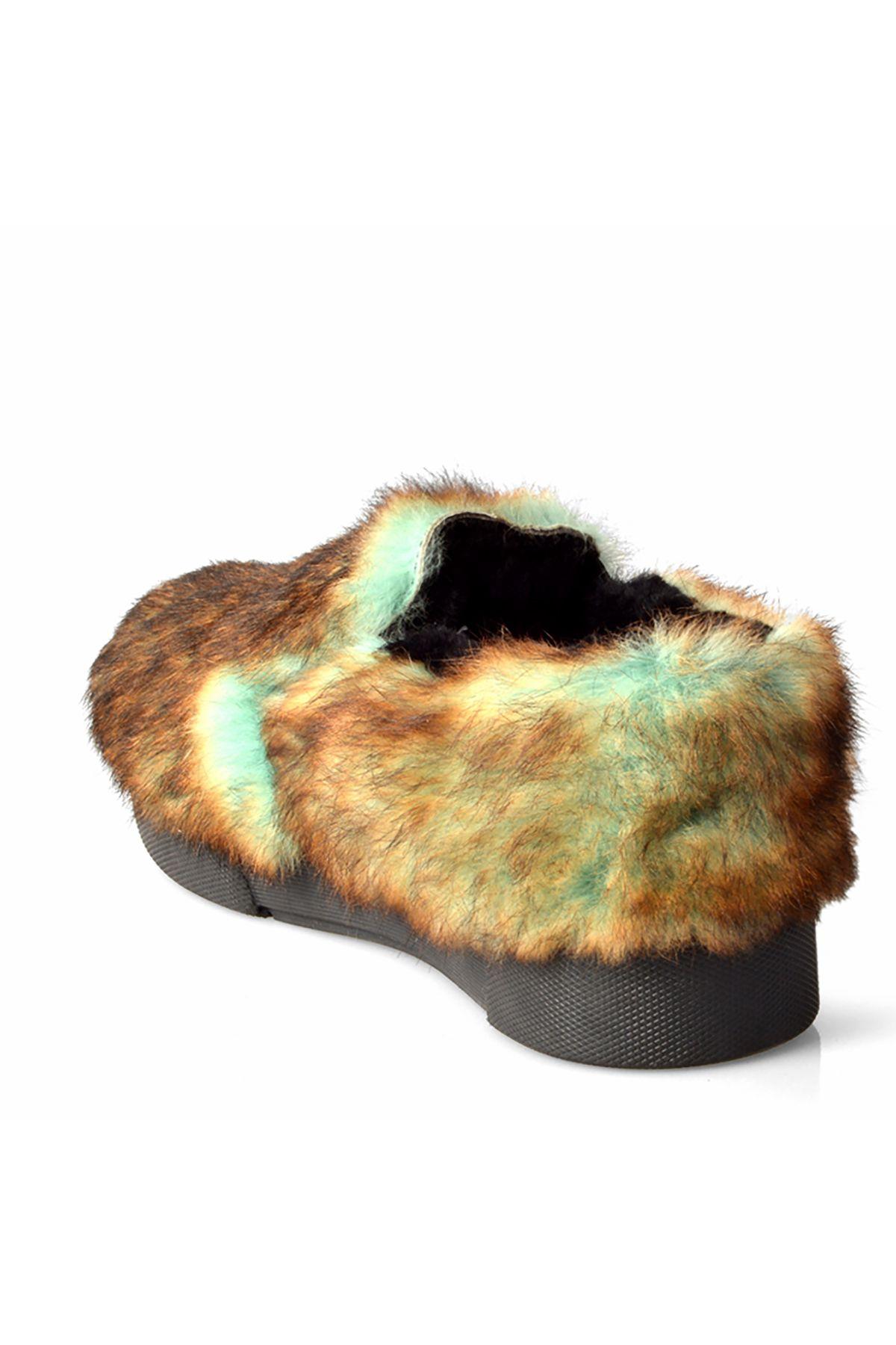 Pegia Women Sneakers From Genuine Fur Green