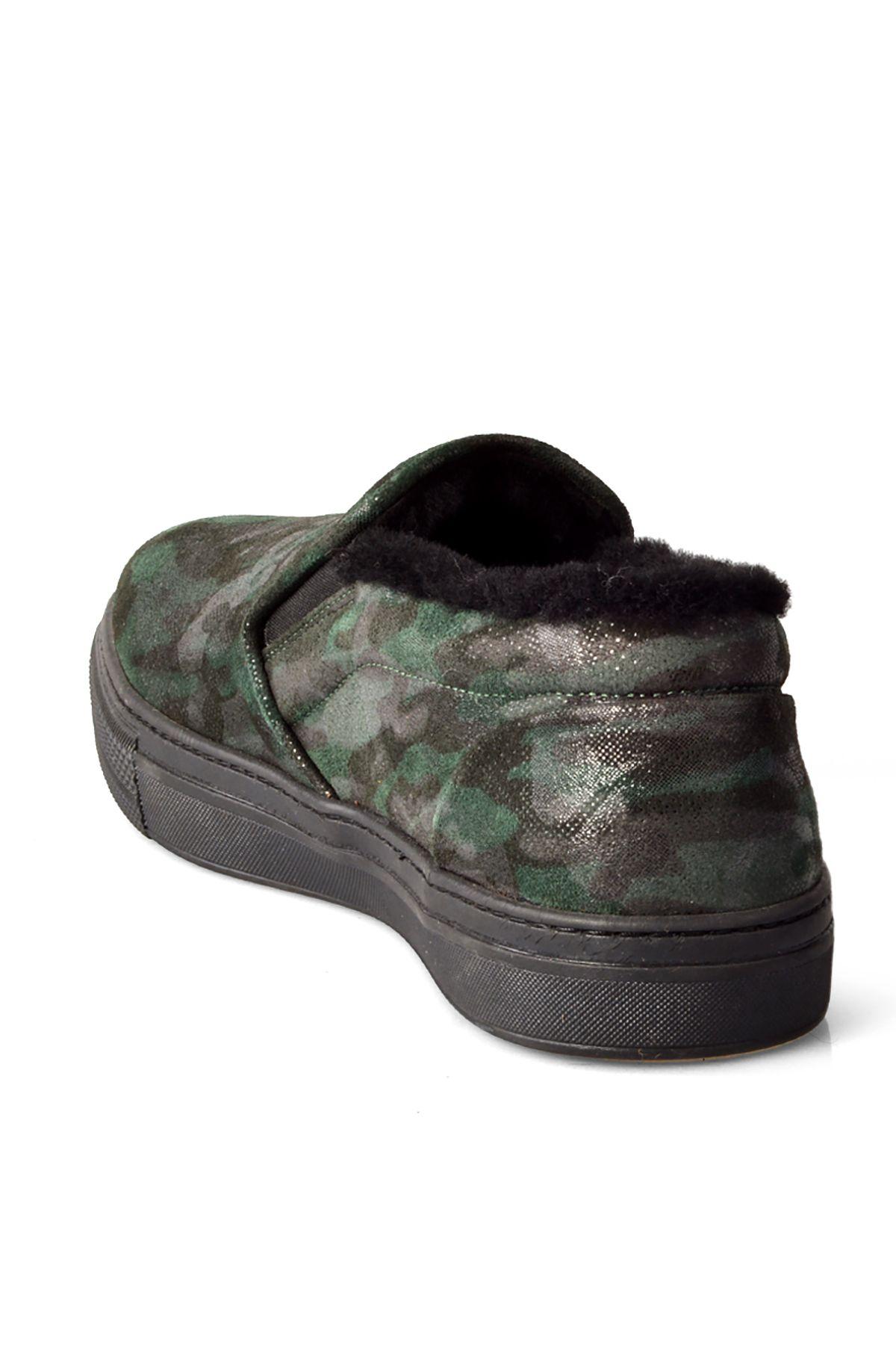 Pegia İçi Kürklü Kamuflaj Deri Erkek Sneaker  Haki
