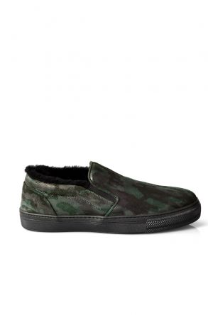 Pegia Men Sneakers From Genuine Fur With Camouflage Pattern Khaki