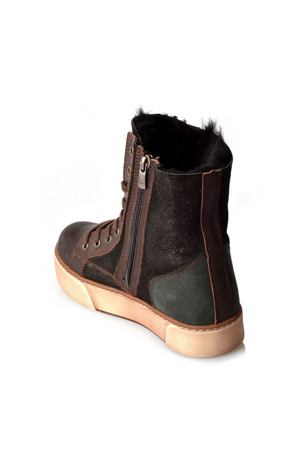 Pegia Laced Women Boots From Genuine Fur With Side Zip Brown