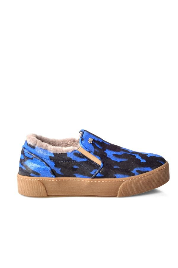 Pegia Women Sneakers From Genuine Suede And Fur With Camouflage Pattern Navy blue