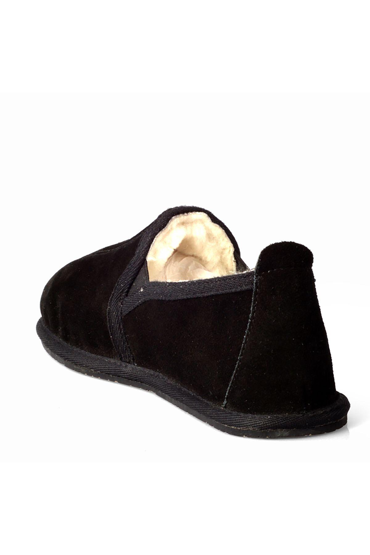 Pegia Hakiki Suet İçi Kürklü Bayan Ev Ayakkabısı 990083 Siyah