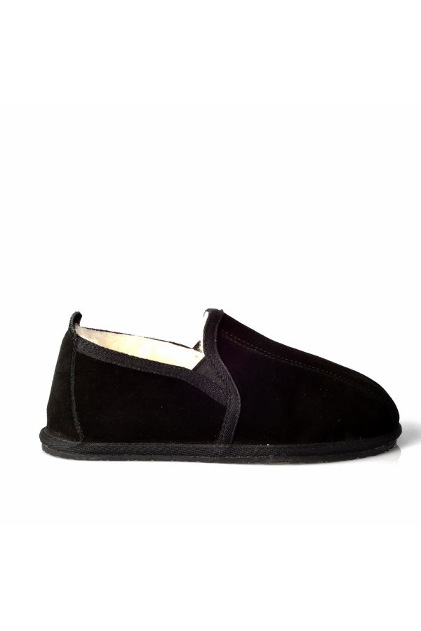 Pegia Women House-shoes From Genuine Suede & Fur Black