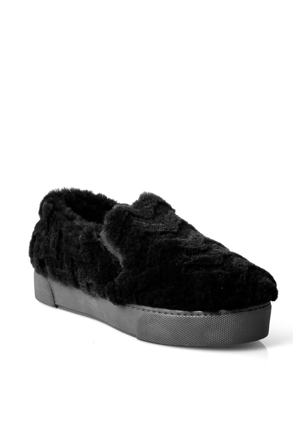 Pegia Hakiki Kürklü Bayan Kışlık Sneaker  Siyah