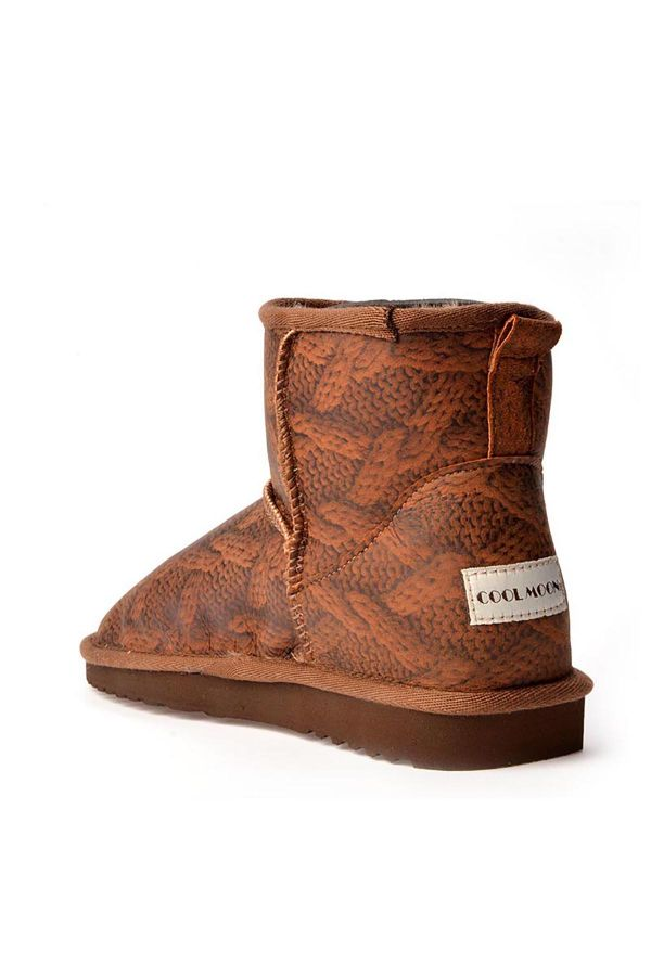 Cool Moon Women Uggs From Genuine Fur With Weaving Pattern Brown