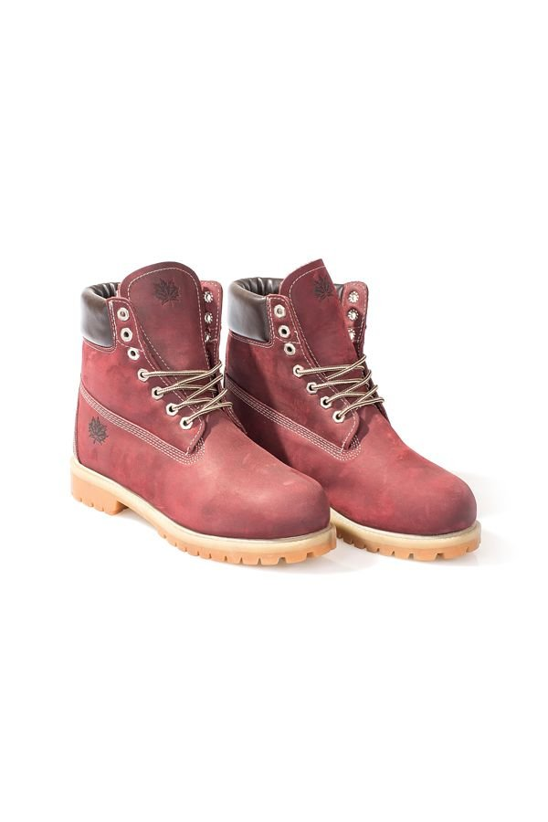 Pegia Men Boots From Genuine Nubuck And Fur Claret red
