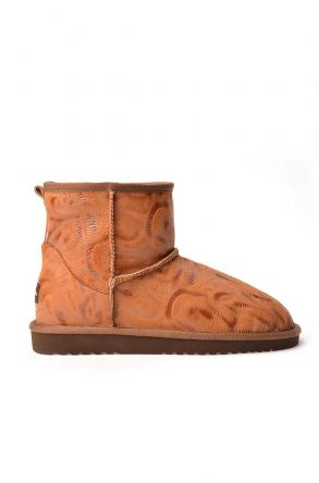 Cool Moon Patterned Women Uggs From Genuine Fur Ginger