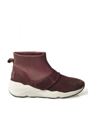 Pegia Women Boots From Genuine Suede And Fur With Elastic Top Claret red