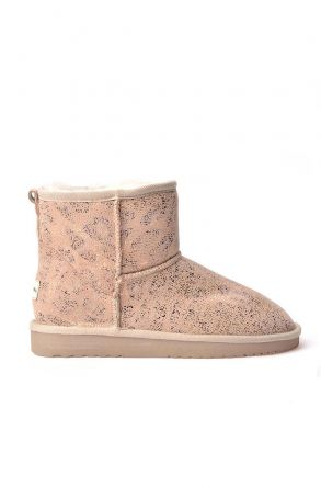 Cool Moon Women Uggs From Genuine Fur With Leopard Pattern Beige
