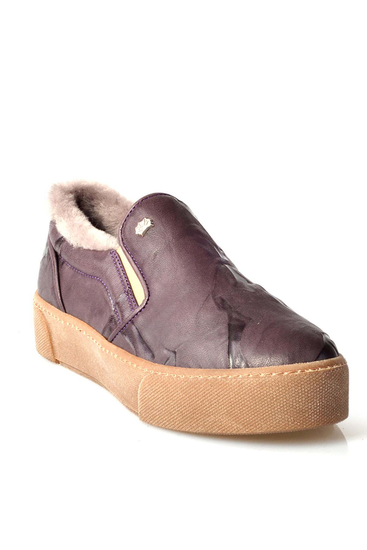 Pegia Aged Women Sneakers From Genuine Leather And Fur Purple