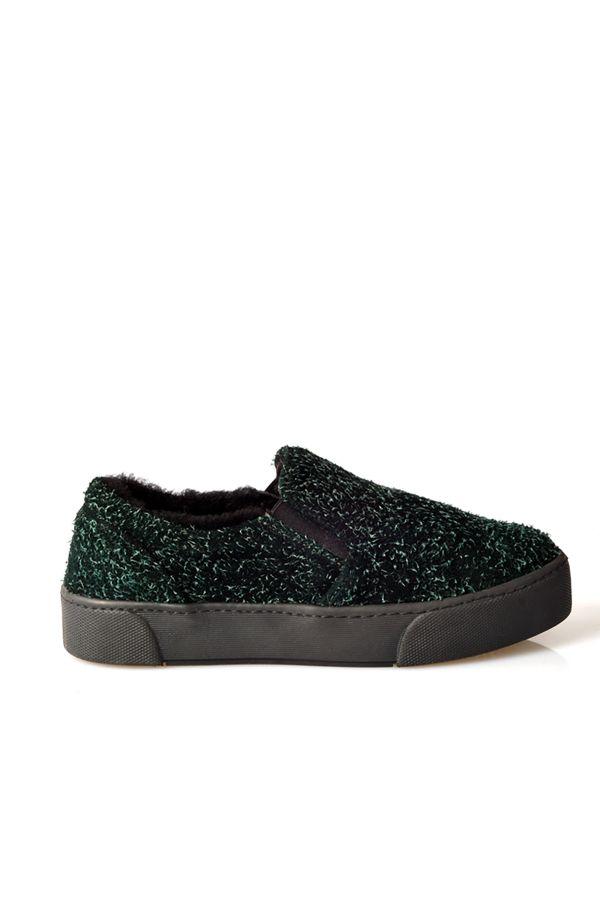 Pegia Hakiki Özel Deri İçi Kürklü Bayan Sneaker  Yeşil