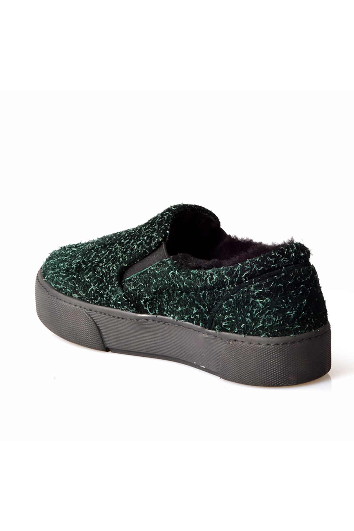 Pegia Women Sneakers From Special Genuine Suede And Fur Green