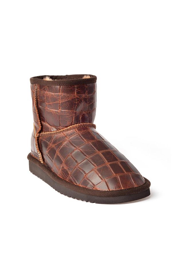 Cool Moon Women Uggs From Genuine Fur With Crocodile Pattern Brown
