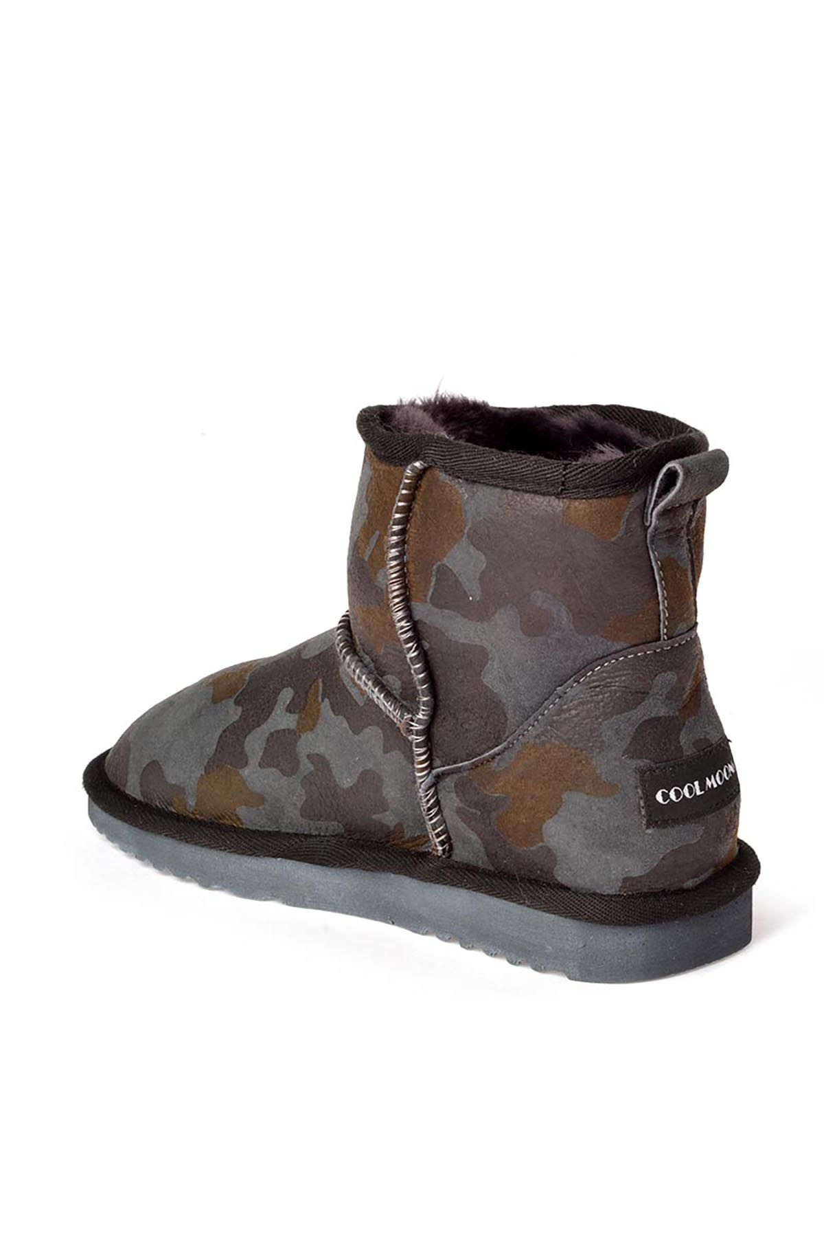 Cool Moon Women Uggs From Genuine Fur With Camouflage Pattern Dark Gray