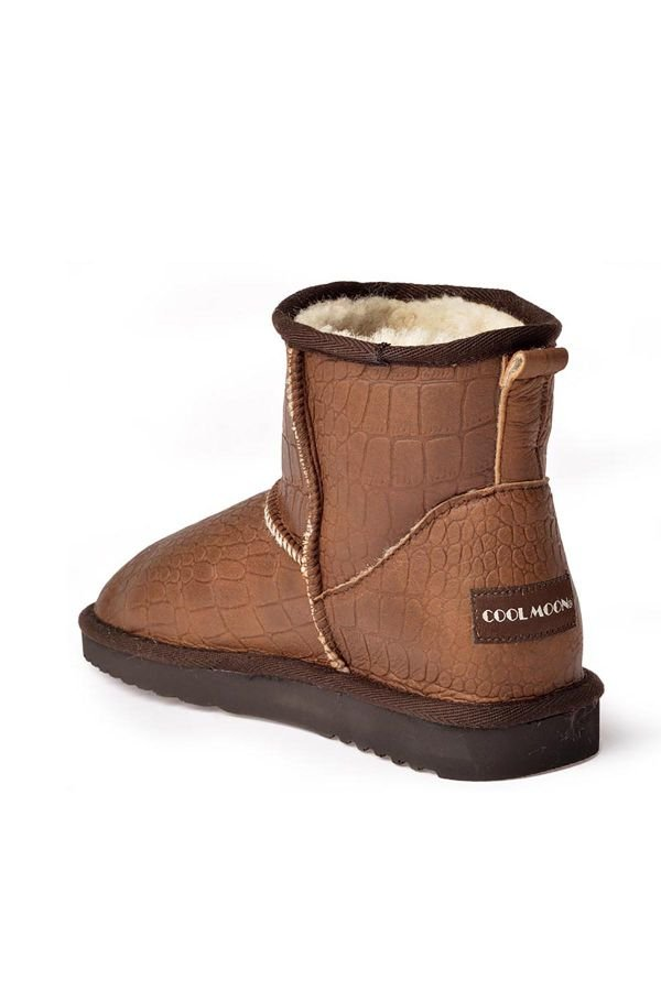 Cool Moon Patterned Women Uggs From Genuine Fur Brown